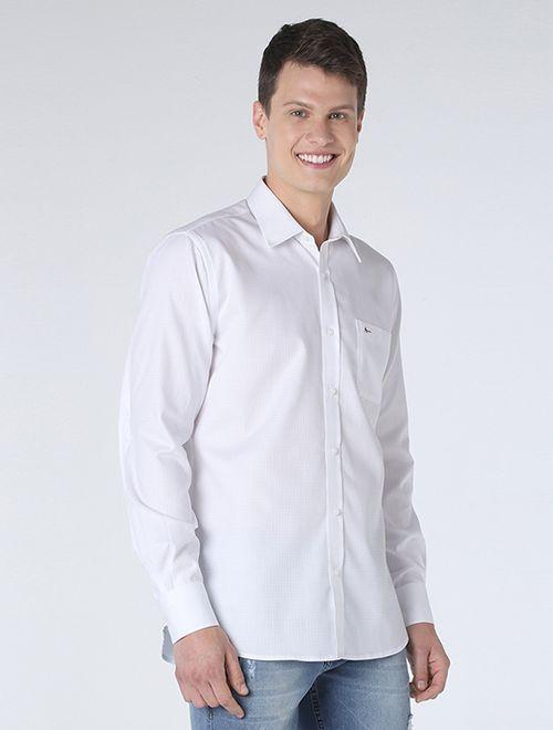 Camisa Social Maquineta Xadrez Branco