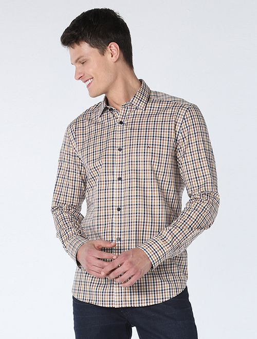 Camisa Slim Xadrez Caqui