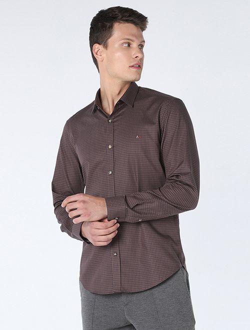 Camisa Super Slim Xadrez Caqui