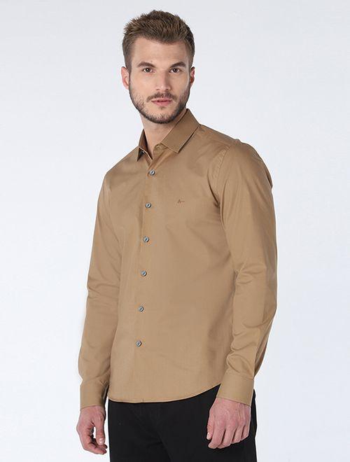 Camisa Super Slim Stretch Caqui