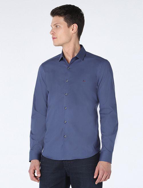 Camisa Manga Longa Super Slim Com Elastano Azul Medio