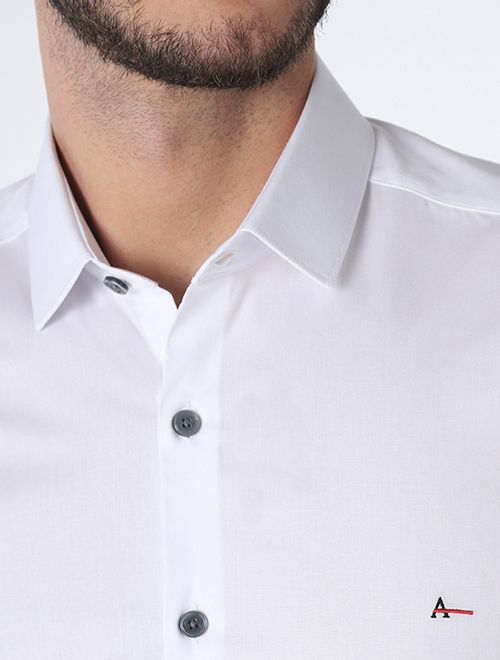 Camisa Manga Longa Super Slim Com Elastano Branco