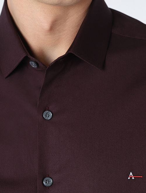 Camisa Manga Longa Super Slim Com Elastano Vinho