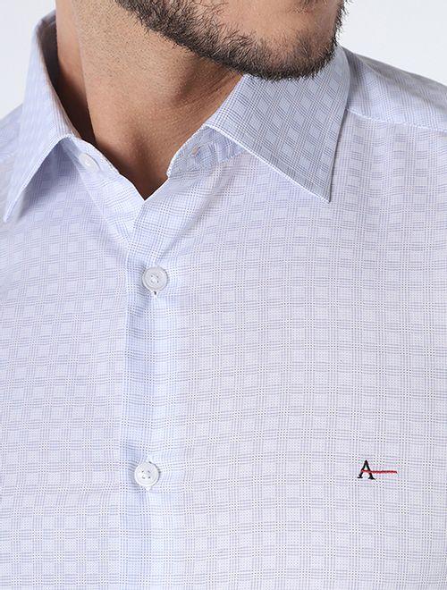 Camisa Slim Maquineta Xadrez Platinum Azul Claro