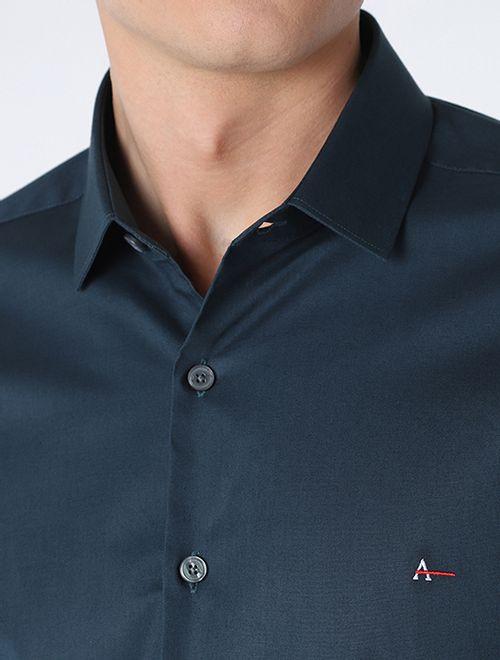 Camisa Manga Longa Super Slim Com Elastano Petroleo