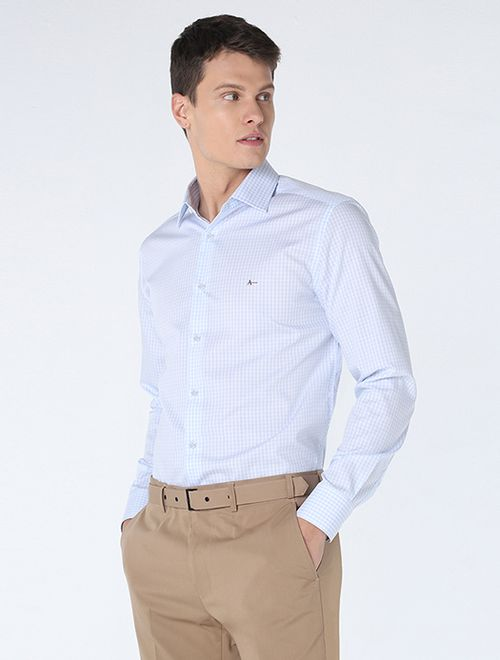 Camisa Slim Xadrez Platinum Azul Claro