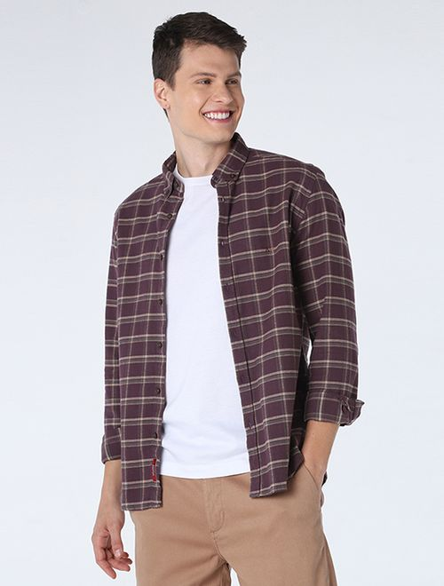 Camisa Slim Xadrez Button Down Vinho