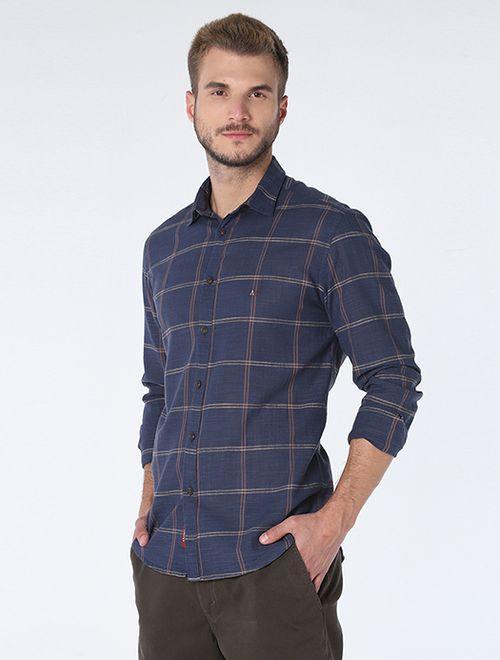 Camisa Slim Xadrez Duplo Marinho