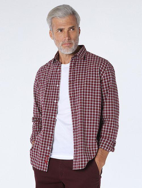 Camisa Slim Xadrez Vinho