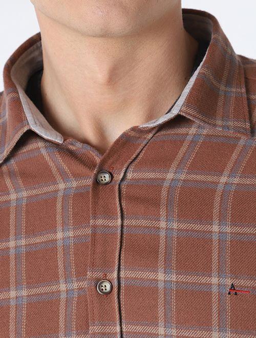 Camisa Slim Xadrez Maxi Marrom