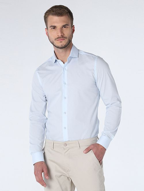 Camisa Manga Longa Social Super Slim Com Elastano Azul Bebe