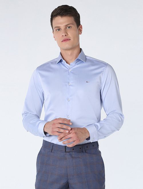 Camisa Social Super Slim 80/2 (Mo) Azul Claro