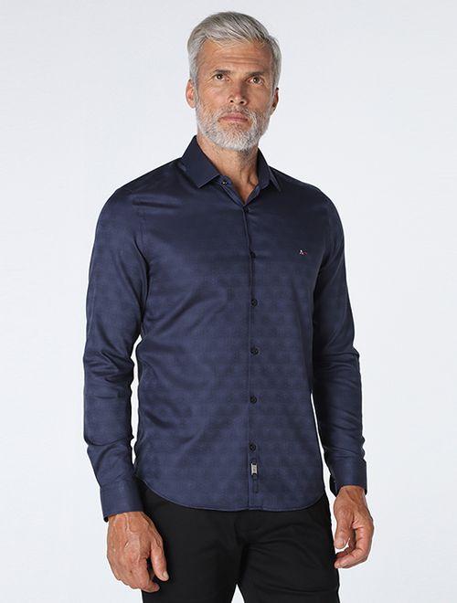 Camisa Night Super Slim Em Jacquard Marinho