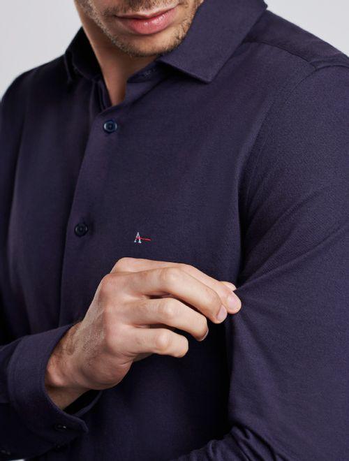 Camisa Manga Longa Antiviral Em Malha Marinho