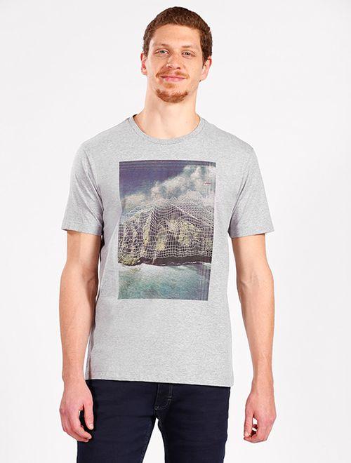 Camiseta Montain Abstrata Cinza Mescla