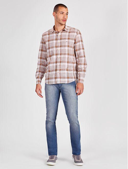 Camisa Manga Longa Xadrez Regular Jeanswear Branco Com  Marrom