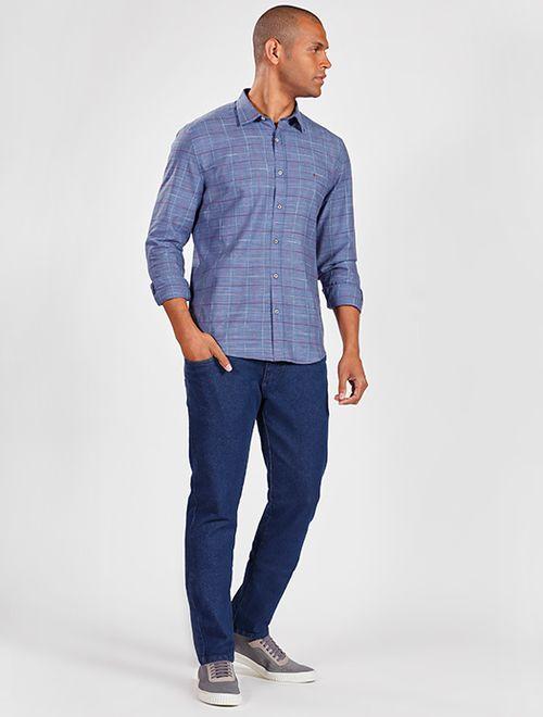 Camisa Manga Longa Jeasnwear Slim Xadrez Azul