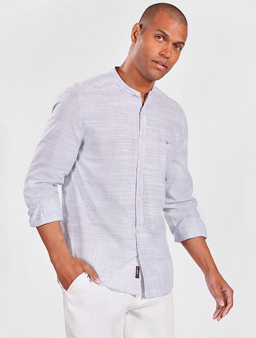 Camisa Manga Longa Listrada Regular Jeanswear Azul Claro