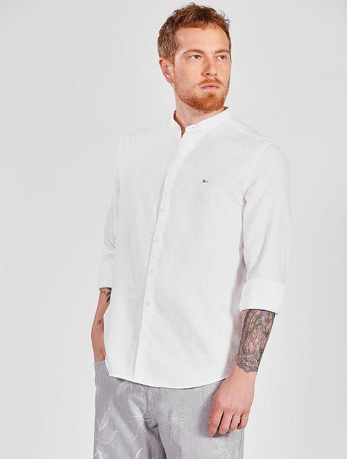 Camisa Manga Longa Linho Slim Gola Padre Jeanswear Branco