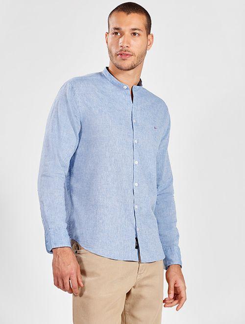 Camisa Manga Longa Linho Slim Gola Padre Jeanswear Azul
