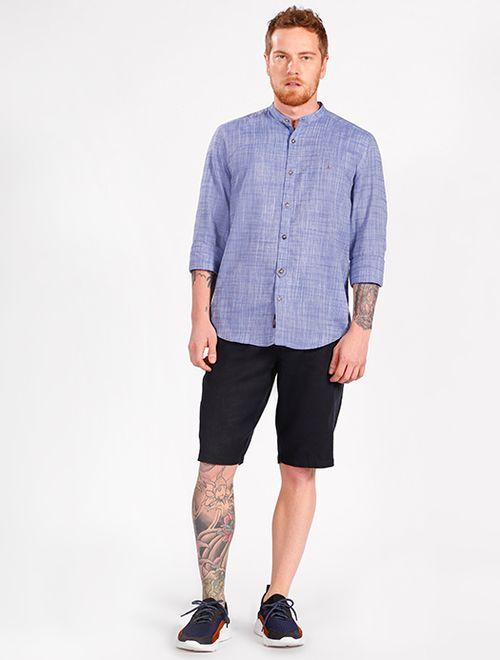 Camisa Manga Longa Slim Gola Padre Jeanswear Azul Medio