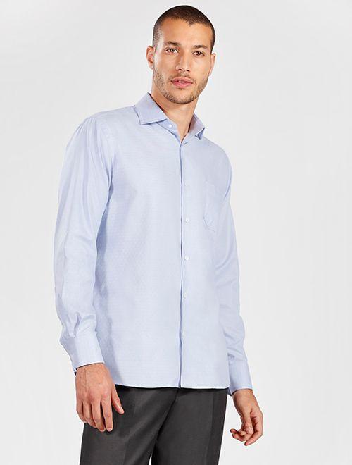 Camisa Manga Longa Social Regular Maquinetada Sem Bordado