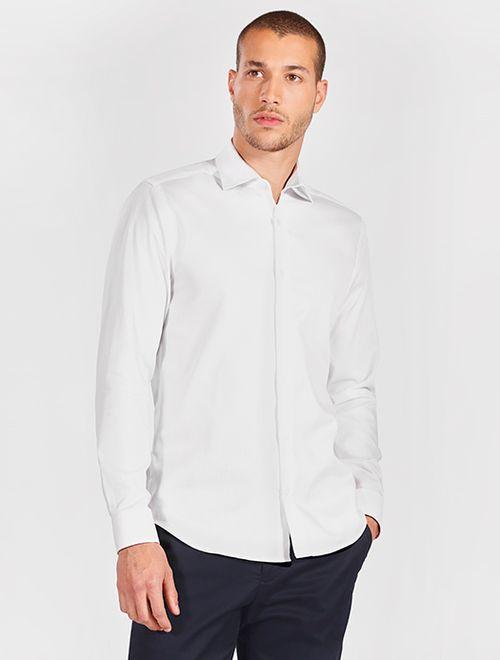 Camisa Manga Longa Social Super Slim Maquinetada Branco