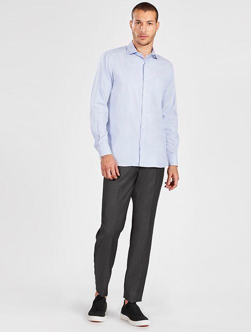 Camisa Manga Longa Social Regular Maquinetada Sem Logo Azul Claro