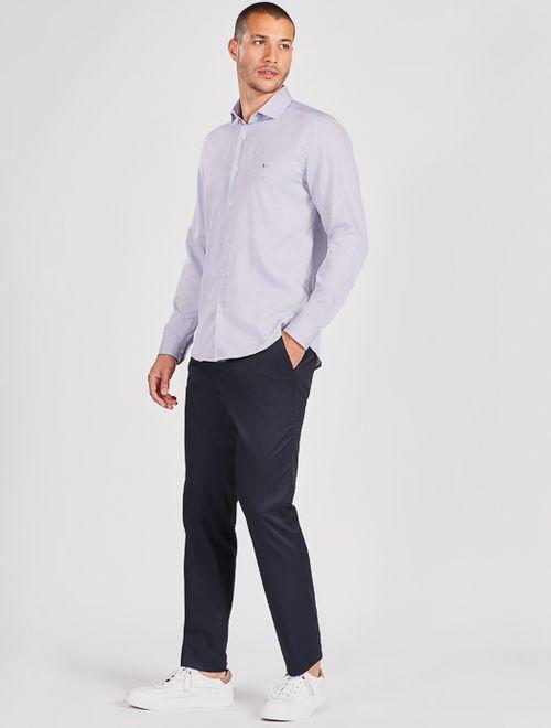 Camisa Manga Longa Social Super Slim Maquinetada Azul