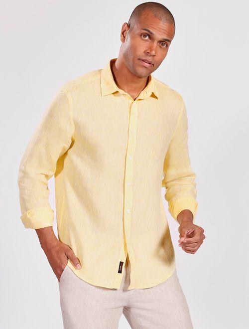 Camisa Manga Longa Jeanswear Slim Linho Irlandês Amarelo