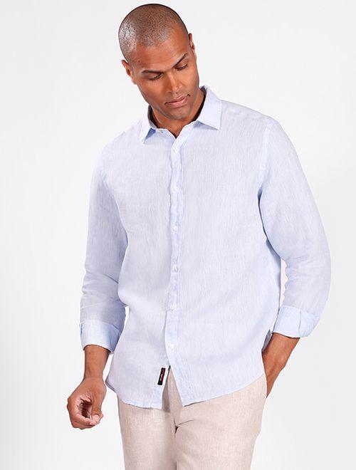 Camisa Manga Longa Jeasnwear Slim Linho Irlandês Azul