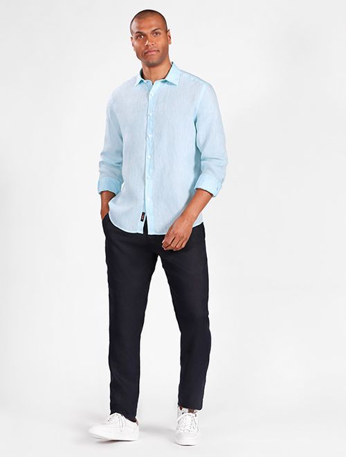 Camisa Manga Longa Jeanswear Slim Linho Irlandês Turquesa