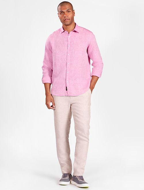Camisa Manga Longa Jeanswear Slim Linho Irlandês Rosa Escuro