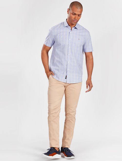 Camisa Manga Curta Casual Regular Xadrez Azul Claro Com  Areia
