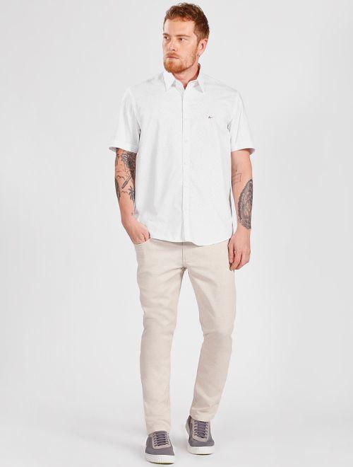 Camisa Manga Curta Barra Italiana Mini Print Branco Com Cinza