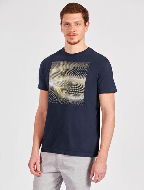 Camiseta Manga Curta Malha Abstrato Marinho