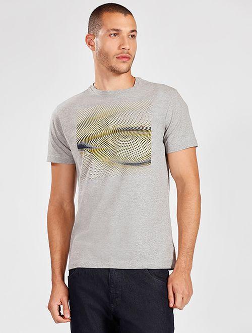 Camiseta Manga Curta Malha Abstrato Cinza Mescla