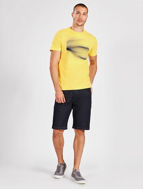 Camiseta Manga Curta Malha Abstrato Amarelo