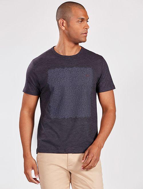 Camiseta Manga Curta Flamê Geométrico Marinho