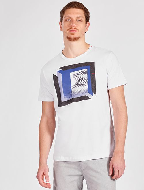 Camiseta Manga Curta Malha Floral Branco