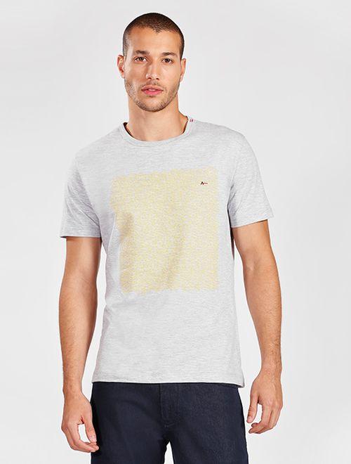 Camiseta Manga Curta Flamê Geométrico Cinza Mescla