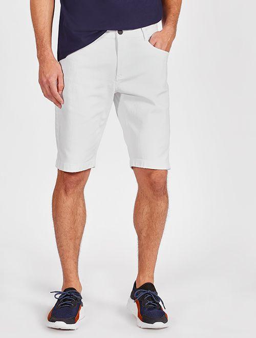 Bermuda Sarja Color 5 Pockets Com Puídos Branco