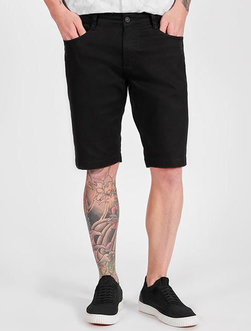 Bermuda Sarja Color 5 Pockets Com Puídos Preto