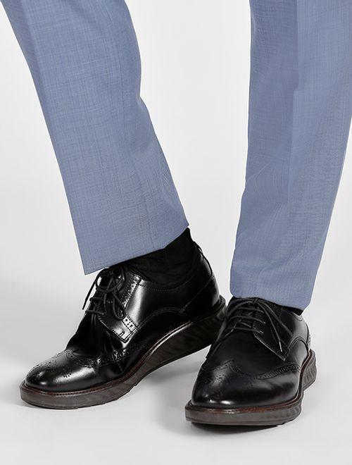 Sapato Oxford Couro Com Meia Neoprene Preto