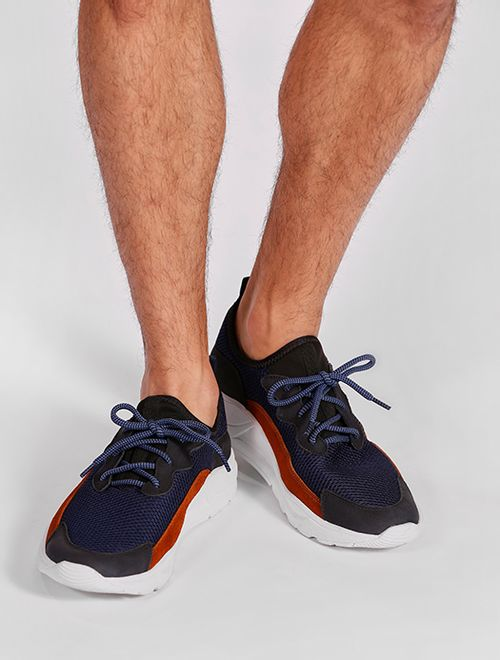 Tênis Jogging Knit Com Nobuck Marinho