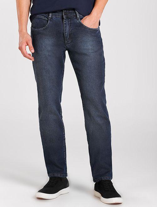 Calça Jeans Regular Estonada Azul