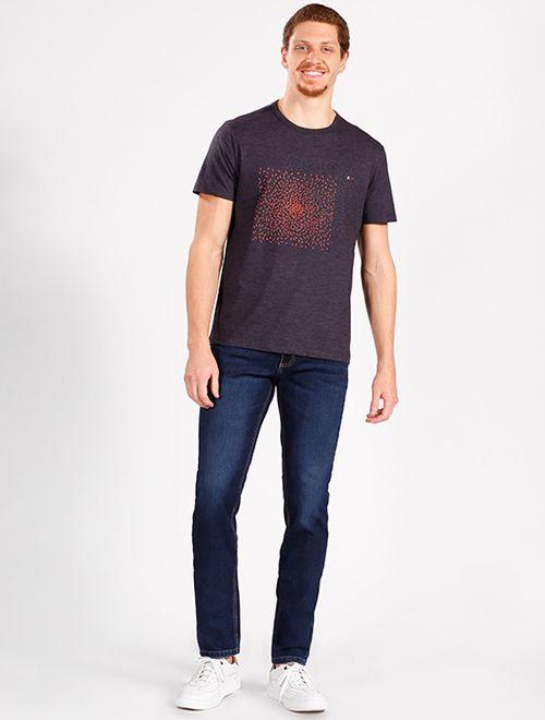 Calça Jeans Slim Estonada Escura Azul