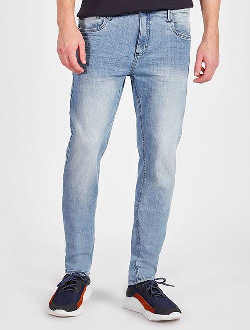 Calça Jeans Delavê Super Slim 5 Pockets Azul