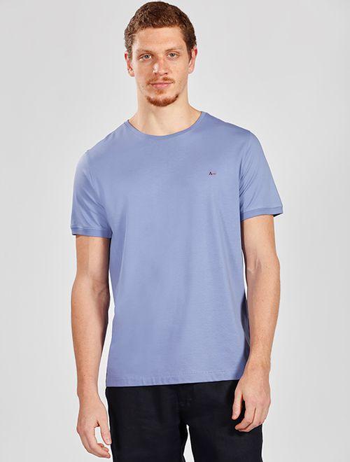 Camiseta Básica De Algodão Pima Azul Claro