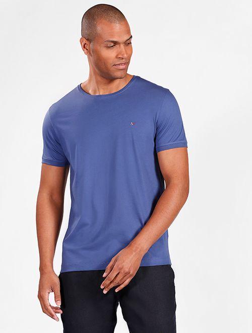 Camiseta Básica De Algodão Pima Azul
